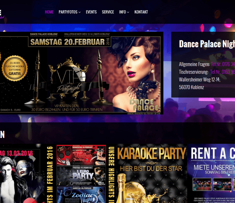 Web-page for a German dance club