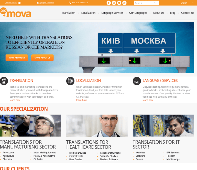 Promova Global – Development of WordPress Site