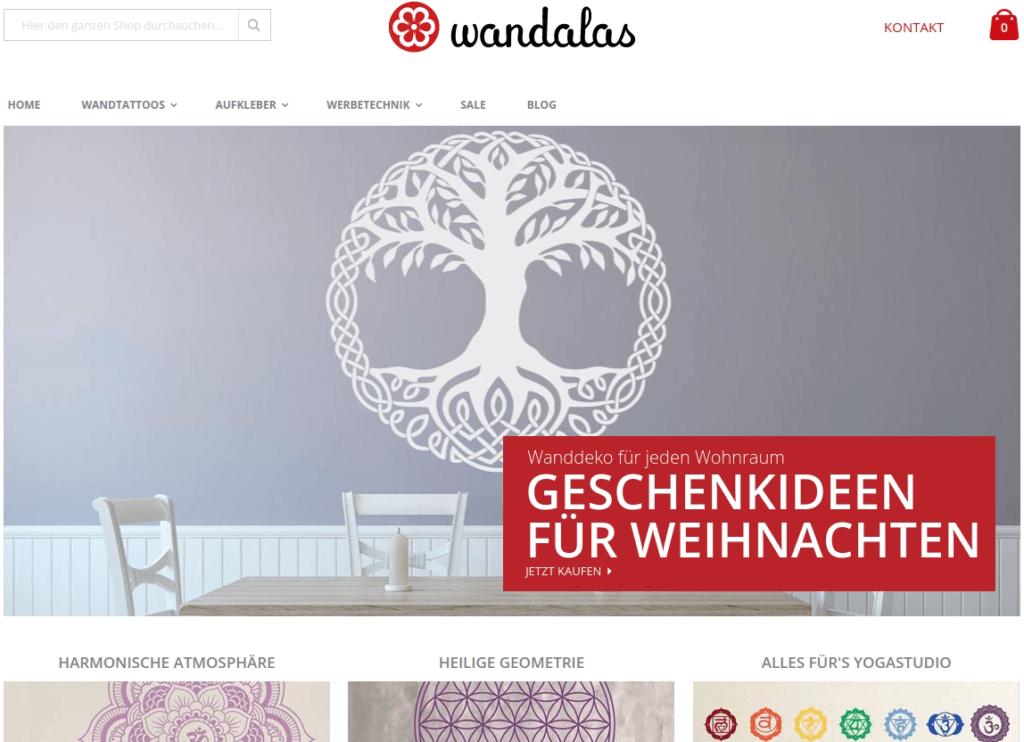 www.wandalas.de – magento 2 , porto theme based online shop
