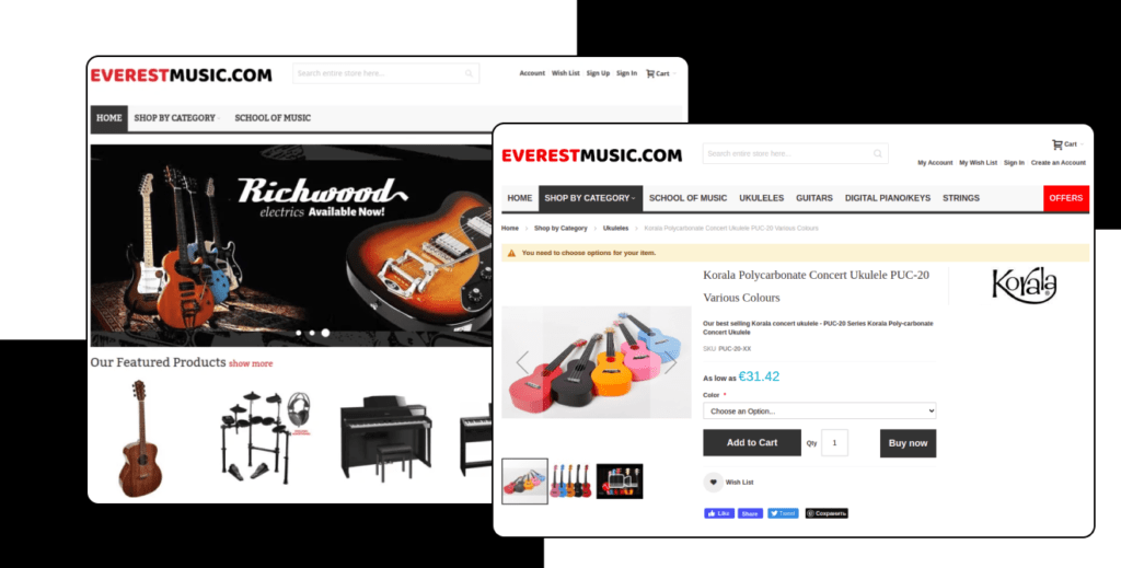 Everestmusic – Migration from osCommerce to Magento 2