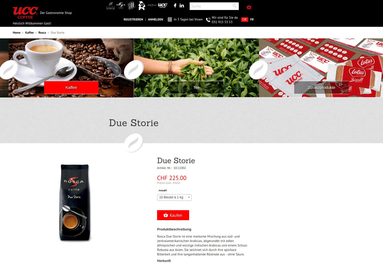 ucc coffee swiss magento entwicklung zürich bern luzern sion web-agentur