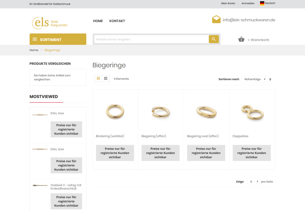 els-schmuckwaren.de German-Austian Magento Online Shop of Luxury Goods and Jewelry