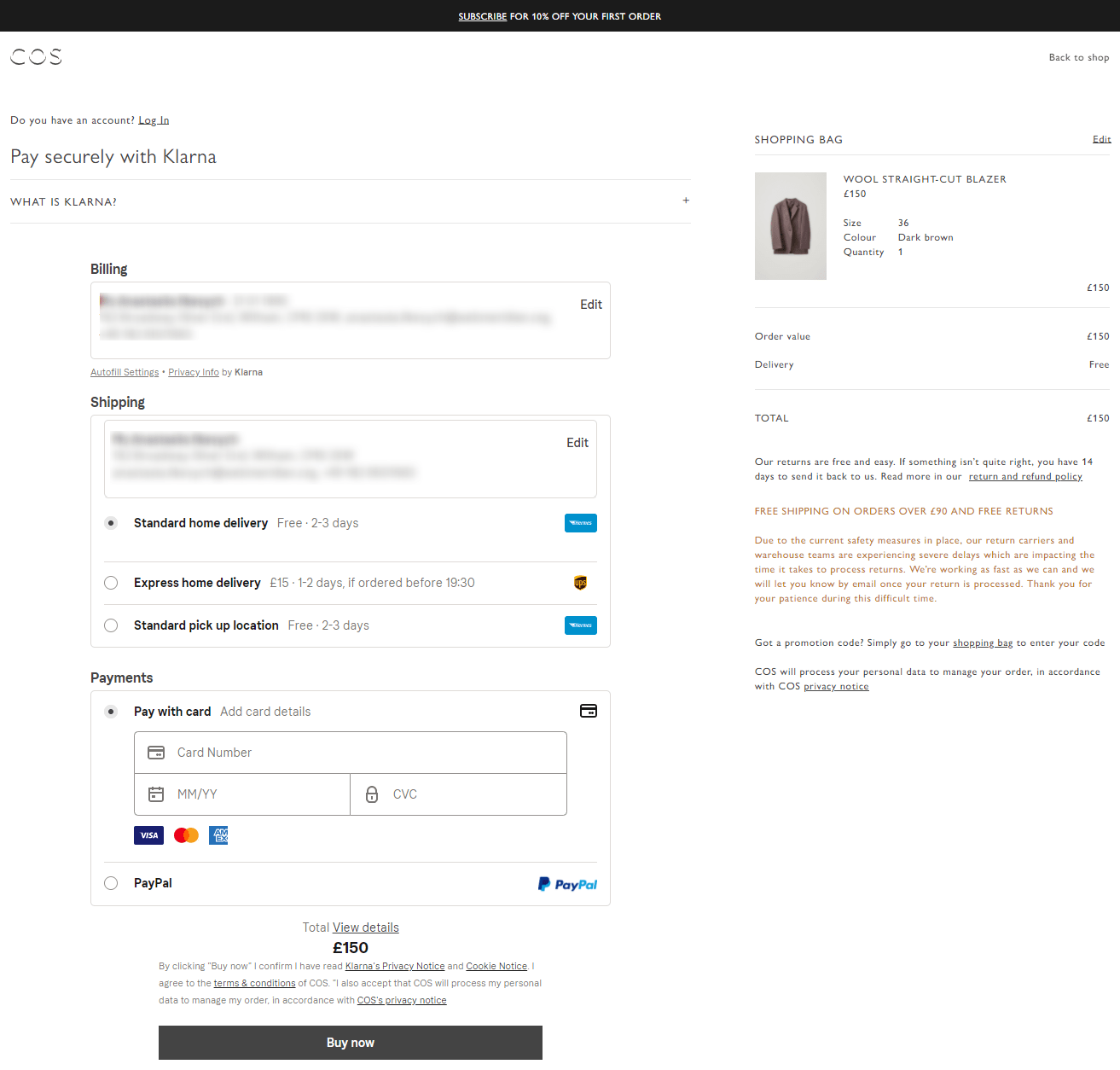 COS Checkout Page