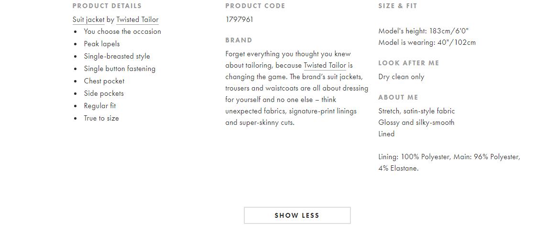 ASOS Product Page Description
